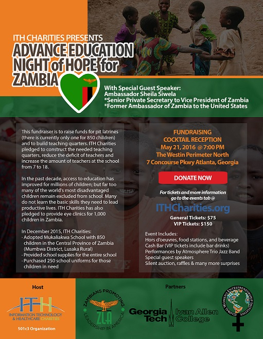ITH Charities Presents - A Night of Hope for Zambia fundraiser